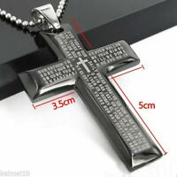 USA Gift Unisex's Men Stainless Steel Cross Pendant Black Silver Bible Necklace