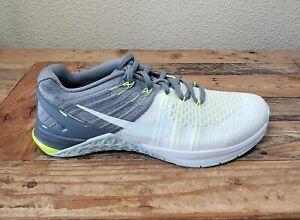 Nike Metcon DSX Flyknit Womens 9 White/Blue/Gray Training Shoe 849809-100 *Read*