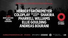 GLOBAL CITIZEN FESTIVAL HAMBURG 6. Juli - 2 Tickets Coldplay - Grönemeyer G20