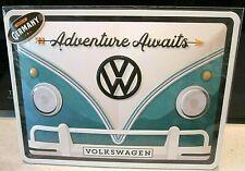 VW VOLKSWAGEN CAMPER, 20x15cm  LICENCED, EMBOSSED 3D METAL WALL SIGN / kombi