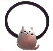 METAL KITTY CAT ELASTIC HAIR TIE fat kitten kawaii cute silver gold black 5C