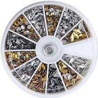 600X 3D Design Nail Art Metallic Studs Gold & Silver Stud Wheel Manicure T1