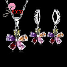 925 Sterling Silver Cubic Zirconia Necklace and Earring Set and Velvet Pouch