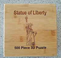Statue of Liberty 3D 500 Piece Jigsaw Puzzle - NICE Bamboo Box - FREE Shipping