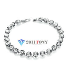 18K White Gold Plated Simulated Diamond Bracelets Made with Swarovski Crystal