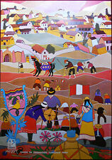 Original Poster Peru Sanchez Primitive Naive Art Painting Village Tourism Foptur