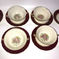 Vtg Royal Epiag China Czechoslovakia Red Set of 4 Soup Bowls & 6 Small Plates