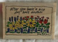 Stampassions Wood Mounted Rubber Stamp - A Nice Day Flowers Fence