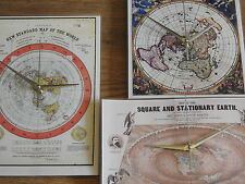 FLAT EARTH CLOCK x3 clocks  - Gleason world Map Jacobus Robijn novelty clock
