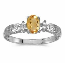 Genuine Citrine and Diamond Victorian Style Band 10K White Gold Ring