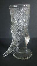 "FENTON CORNUCOPIA HAND OF PLENTY CLEAR GLASS VASE  VINTAGE DAISY BUTTON 6"" TALL"