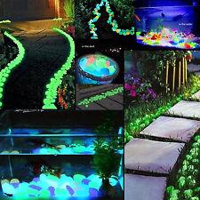 100pcs Cailloux Pierre Galet Fluorescent Lumineux Aquarium Jardin Piscine Décor