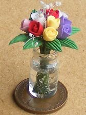 1:12 Scale Mixed Tulips In A Glass Vase Dolls House Miniature Garden Accessory A