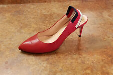 2af37cb7d3e Gucci  Sylvie  Slingback Pump Red Leather Womens 7.5 US 37.5 Eur MSRP