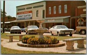 "1976 PLAINS, Georgia Postcard ""Scene from Park"" Carter Poster Street View Unused"