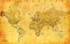 A2 SIZE - OLD LOOKING WORLD MAP VINTAGE GIFT / WALL DECOR ART PRINT POSTER