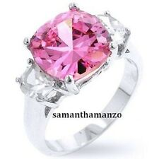 PINK Cushion Cut Cubic Zirconia Engagement Cz Cocktail 3-Stone Bling Ring 5