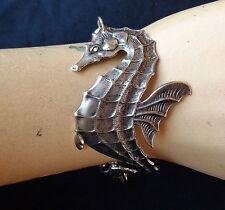 Vintage Bracelet Wide Seahorse Centerpiece W/ Baby Seahorse Charm