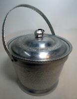 Vintage Mid Century Hammered Ornate Lidded Handle Aluminum Ice Bucket