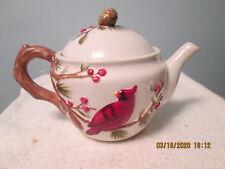 Harry & David Teapot w/Cardinal Pine Tree Christmas EUC!!!