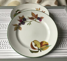 Royal Worcester Evesham Vale Green Rim Fruit Side Plates x 4