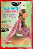 Vintage Pantyhose w/Model Black Queen size Canada New Old stock