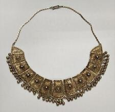 Rare Vintage Old Gold Tone Handmade Beautiful Necklace Costume Jewellery (A1571)