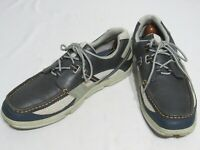 $225 SEBAGO Men's Leather Mesh Oxford Crown Navy Blue Boat Shoes Size 10M