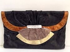 Vintage 80s Large Oversized Clutch Purse Bag Metallic Black Leather Envelope