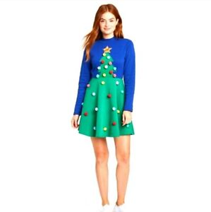 NEW Christmas Tree Dress Juniors XL Pom Poms Ships Free
