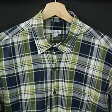 Steven Alan Mens Button Shirt Size L Cotton Short Sleeve Plaids checks