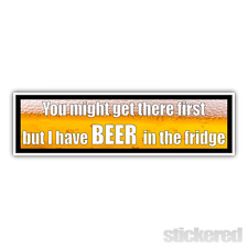 BEER IN FRIDGE PRINTED CARAVAN / MOTORHOME / CAMPER FUNNY STICKER 210mm x 60mm