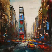 Modern abstract Hand-Painted city Oil Painting wall art decor on canvas