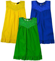 Girls Plain Sleeveless Lace Top Kids Summer Holiday T Shirt New Age 4-14 Years