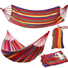 Rainbow Canvas Outdoor Indoor Hammock Swing Hanging Bed Hiking Camp Sleeping Bed