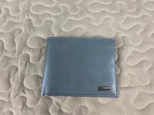 CK Calvin Klein Gray Leather Wallet Bi Fold Mens