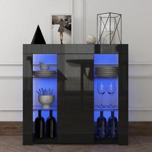 Modern LED Buffet Sideboard High Gloss Door Storage Cabinet Cupboard White/Black