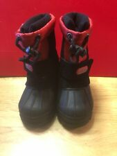 BOYS TOTES TIMMY RED BLACK LEATHER WATERPROOF WINTER SNOW BOOTS SZ 5M TODDLER
