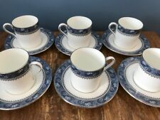 """Set 6 Aynsley """"Blue Mist"""" Fine Bone China Coffee Cans/Cups & Saucers Blue White"""