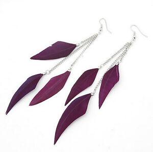 Women Charm Fashion Feather Earrings Tassel Ear Studs Long Dangle Jewelry