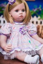 Reborn Blonde Hair Baby Girl Doll Realistic Toddler 22'' Vinyl Newborn Kid Gift