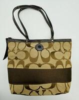 Coach Signature Tan Brown Stripe Tote Handbag Purse Shoulder Bag No J1205-F19046