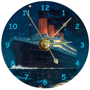 RMS Titanic clock on a 12cm CD Silent non ticking plus stand