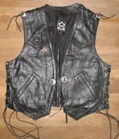 Herren- Schnür- LEDERWESTE / Biker- Weste / Kutte in schwarz ca. Gr. 46/48