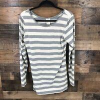 Matilda Jane Women's Gray & White Striped Long Sleeve Top Size Large