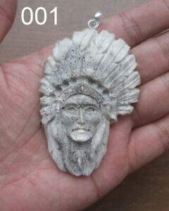 Indian in Elk Antler, Bali Bone Carving Pendant w Sterling Silver Bale 01160121