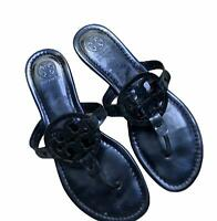 Women's Tory Burch Miller Blue Metallic Leather Thong Sandals Flats Shoes Size 8