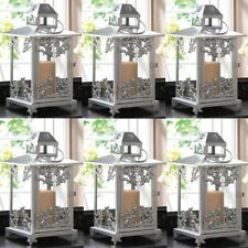 Silver Old Fashioned Candle Lantern 6-Piece Lot Candleholder Centerpieces