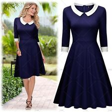 Women Vintage Cocktail Dress Formal Business Evening Party Lapel Pleated Dresses