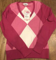 NWT Lilly Pulitzer Provincetown Letterman Pink Argyle V-Neck Sweater Size XS